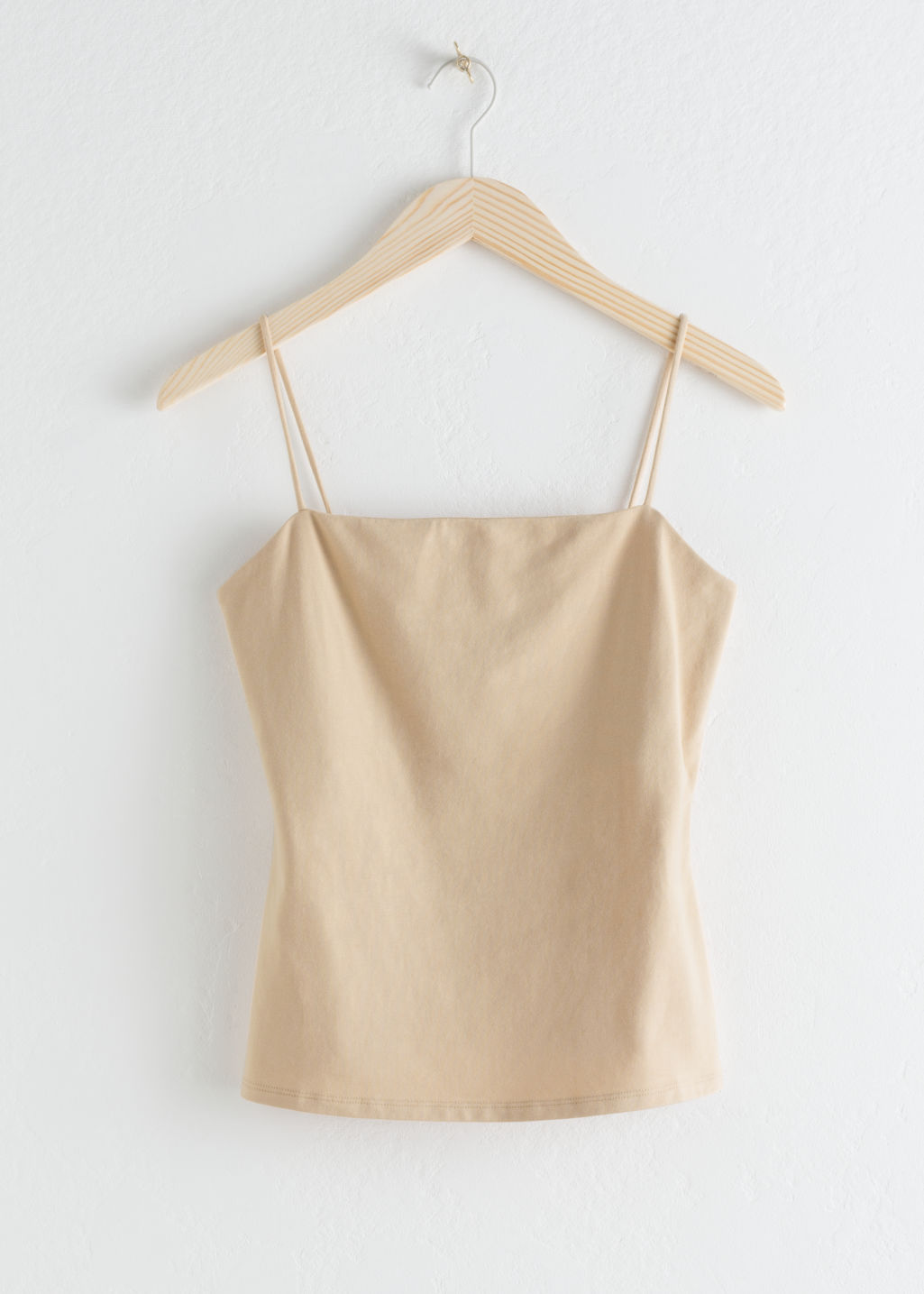 StillLife Front Image of Stories Square Neck Cotton Tank Top in Beige