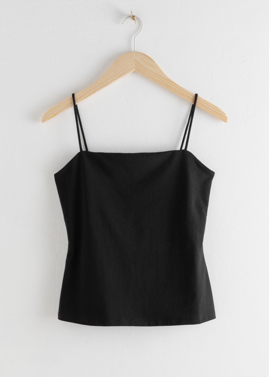 Front image of Stories square neck cotton tank top in black