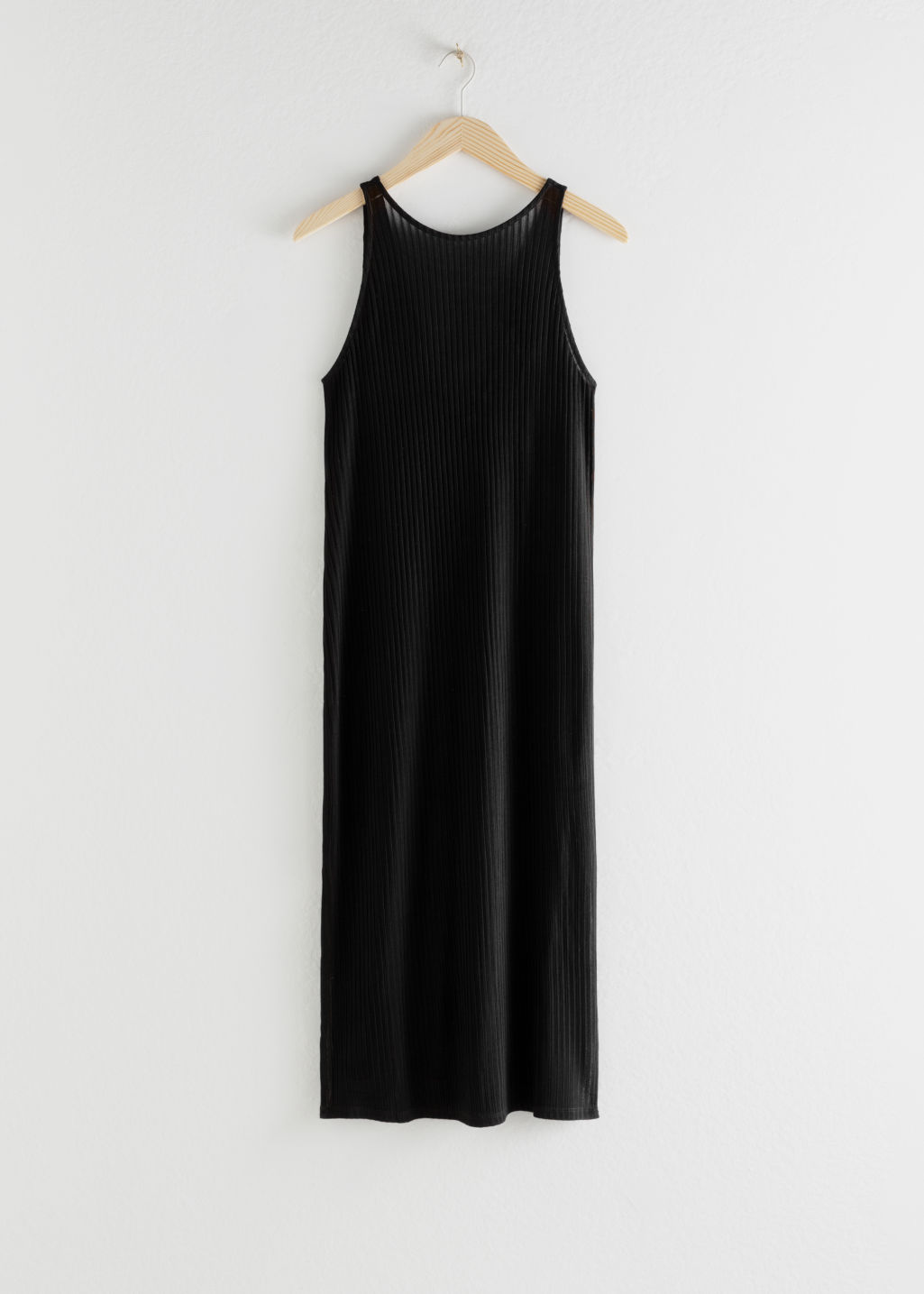 StillLife Front Image of Stories Ribbed Double Side Slit Midi Dress in Black