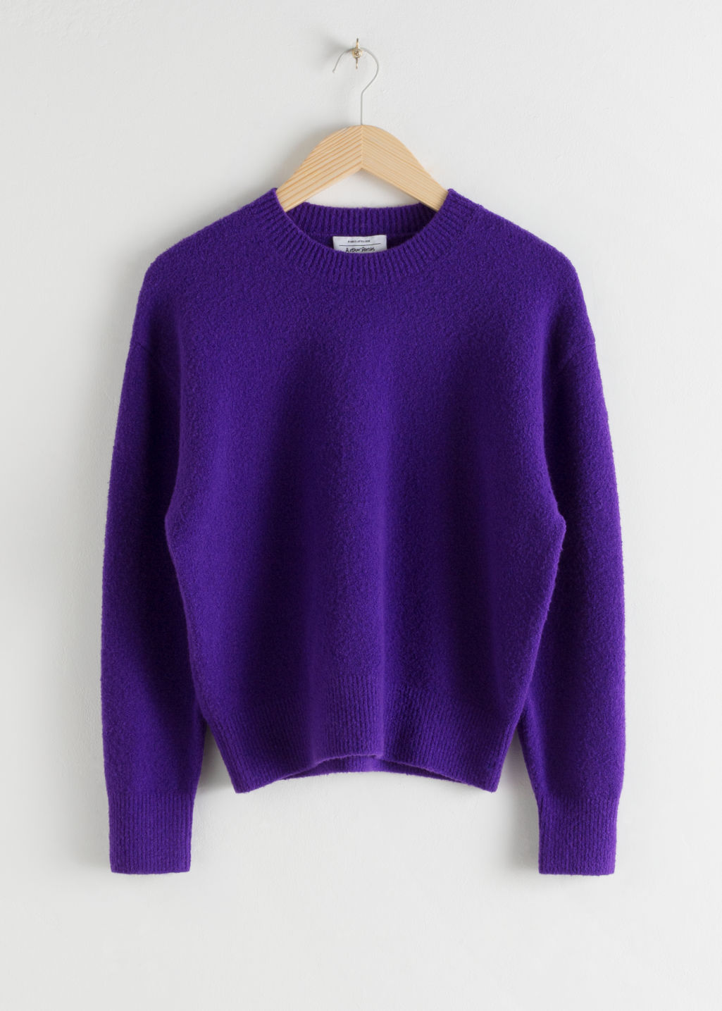 Front image of Stories textured knit relaxed sweater in purple