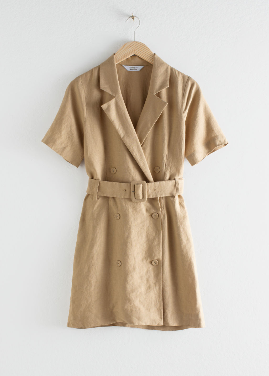 Front image of Stories belted linen trench mini dress in beige