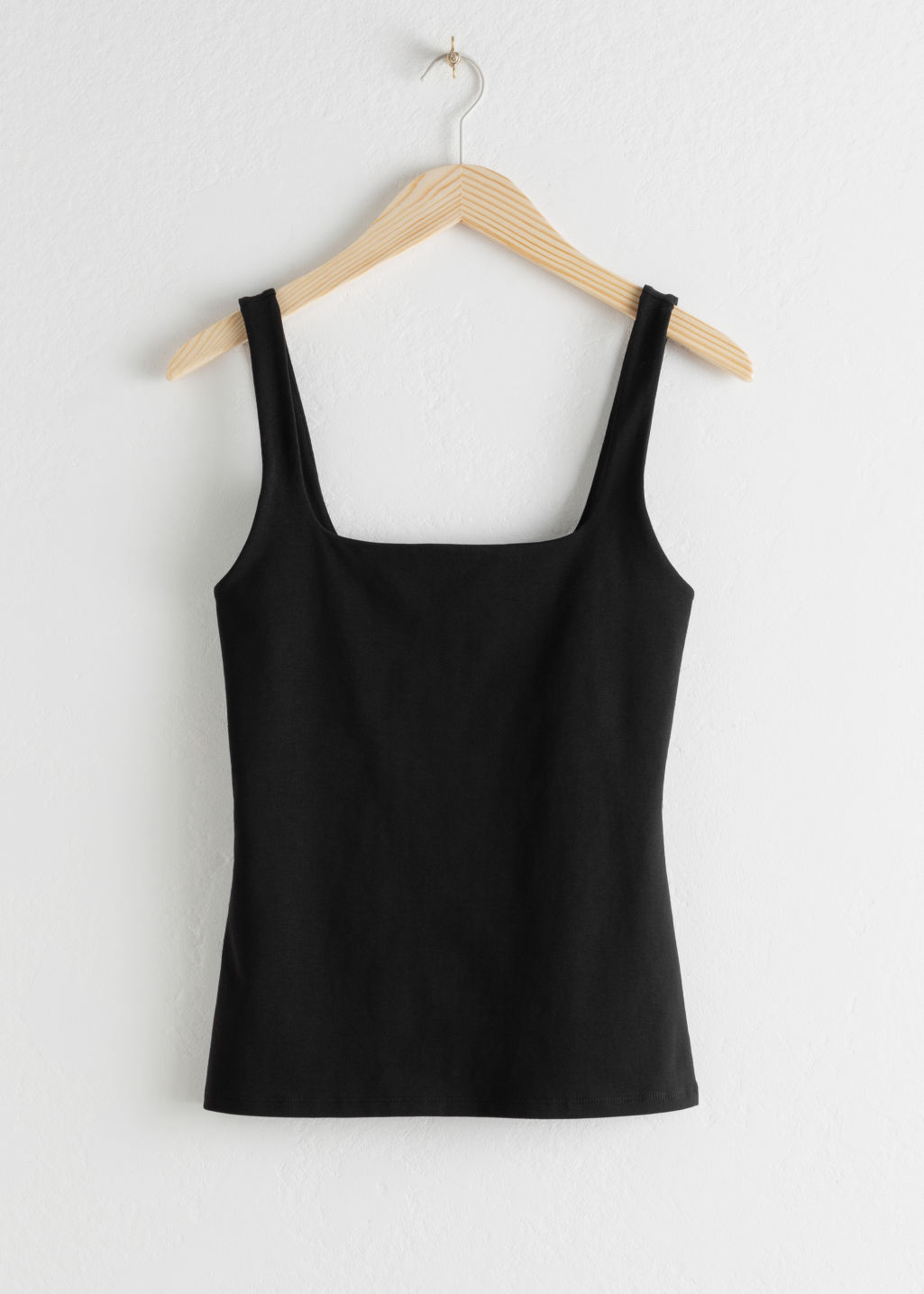 Front image of Stories fitted square neck tank top in black