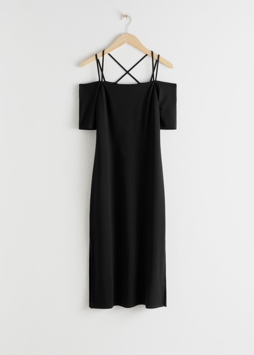 Front image of Stories off the shoulder midi dress in black