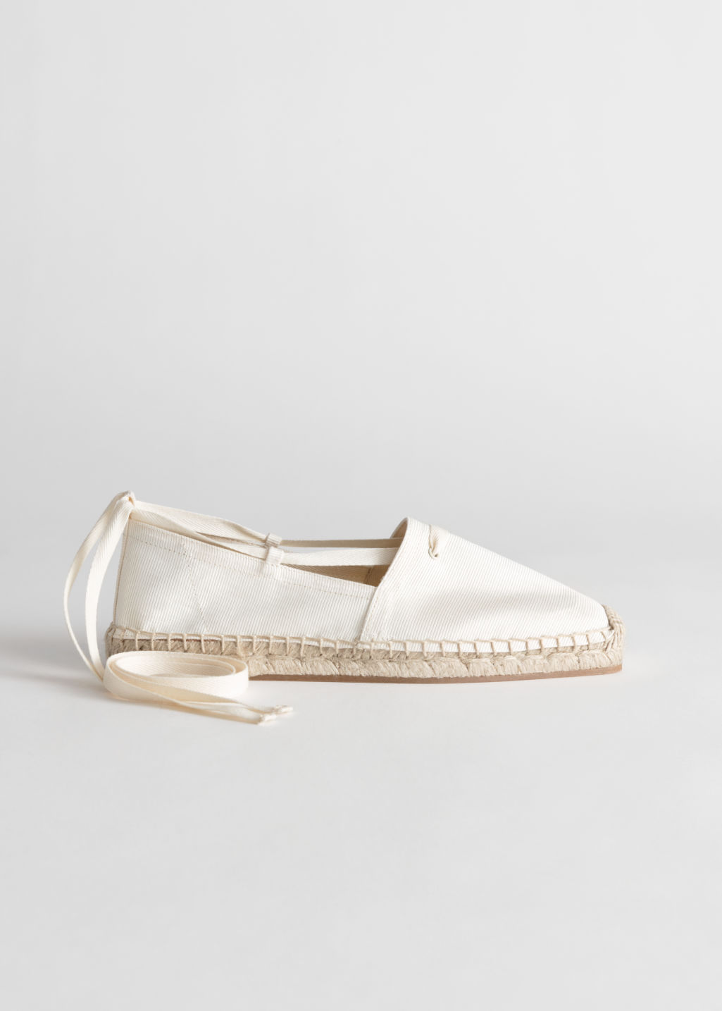 Front image of Stories square toe lace up espadrilles in white
