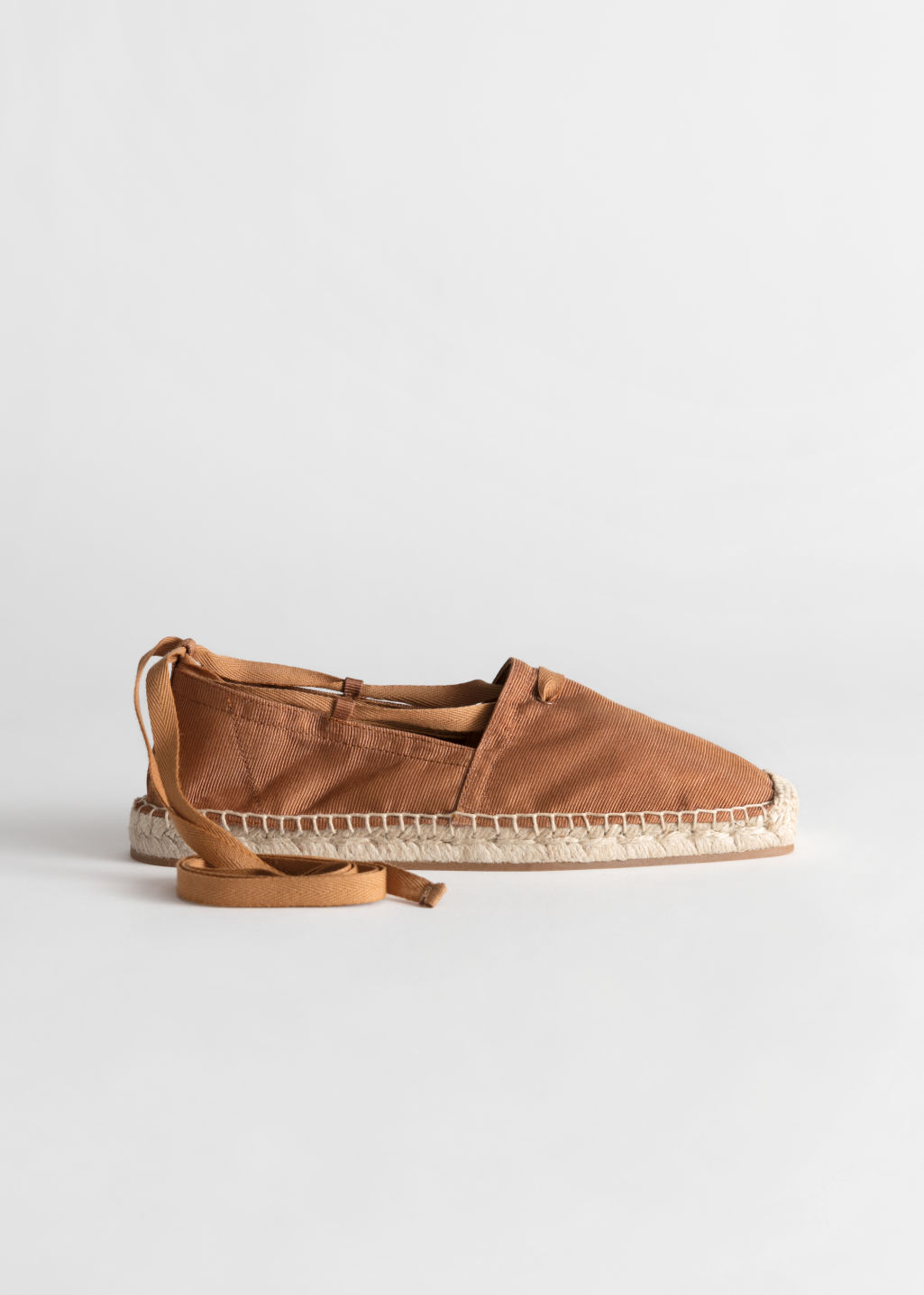 Front image of Stories square toe lace up espadrilles in orange