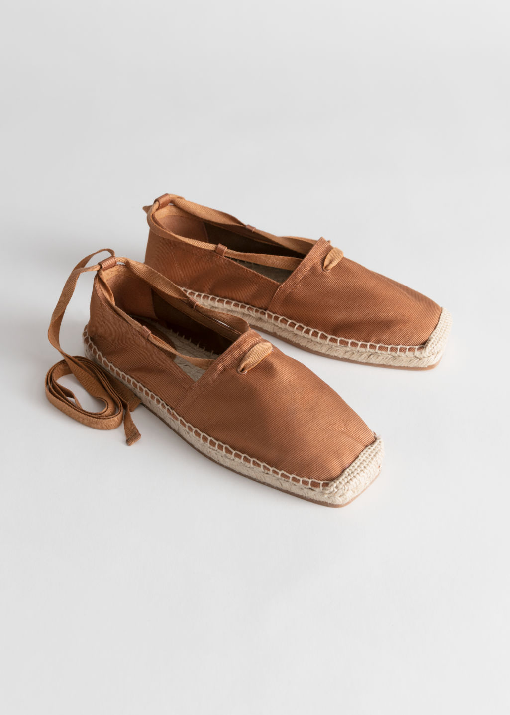 Back image of Stories square toe lace up espadrilles in orange