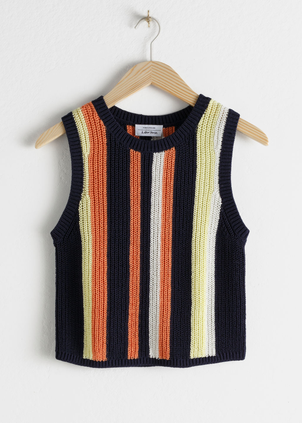 Front image of Stories cotton blend striped tank top in blue