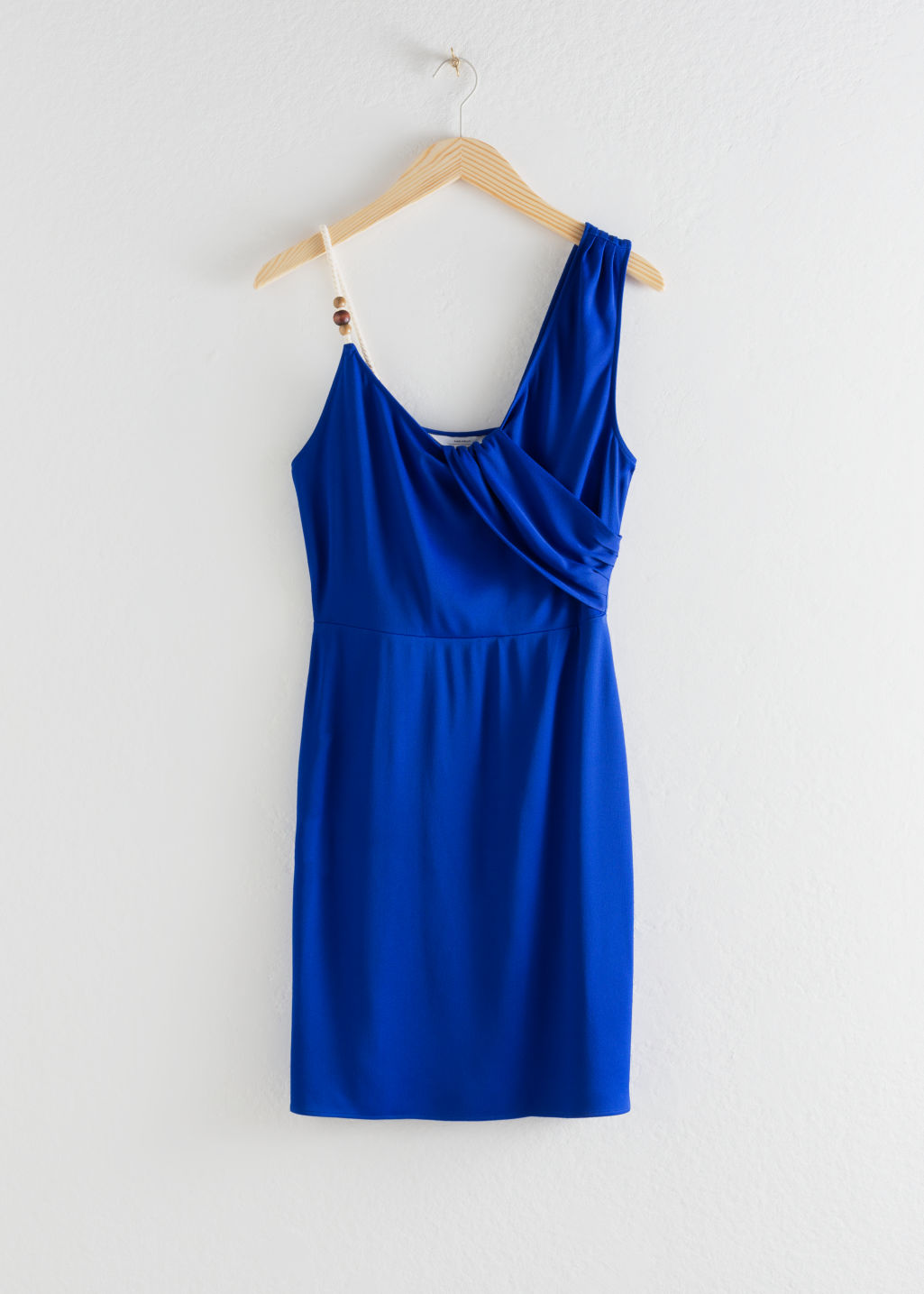 StillLife Front Image of Stories Rope Strap Draped Mini Dress in Blue