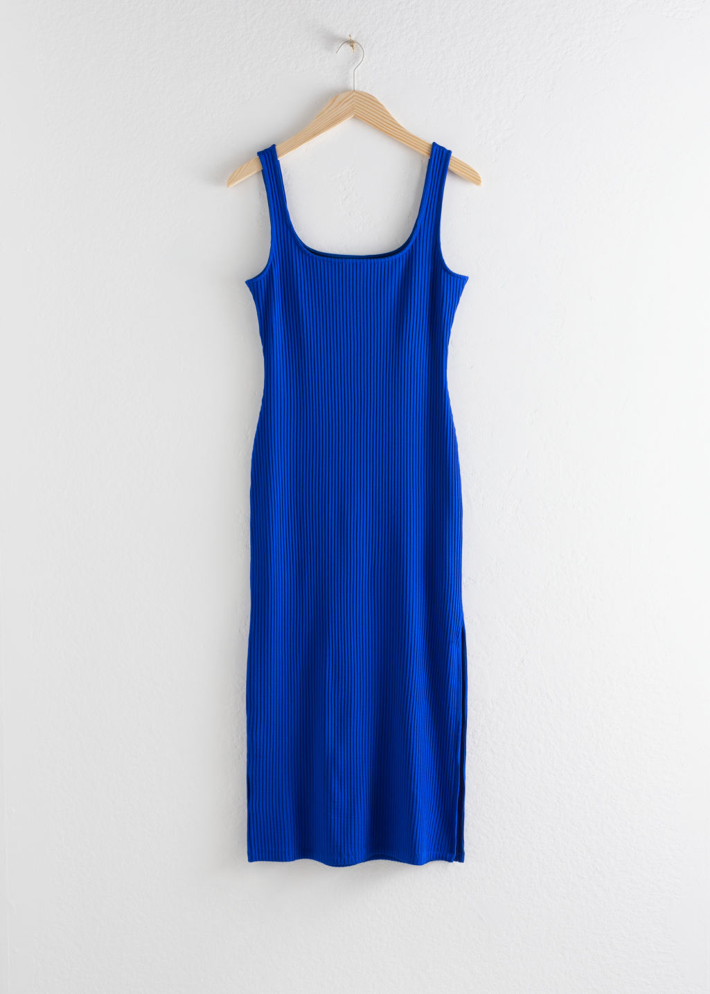 Front image of Stories ribbed fitted midi dress in blue