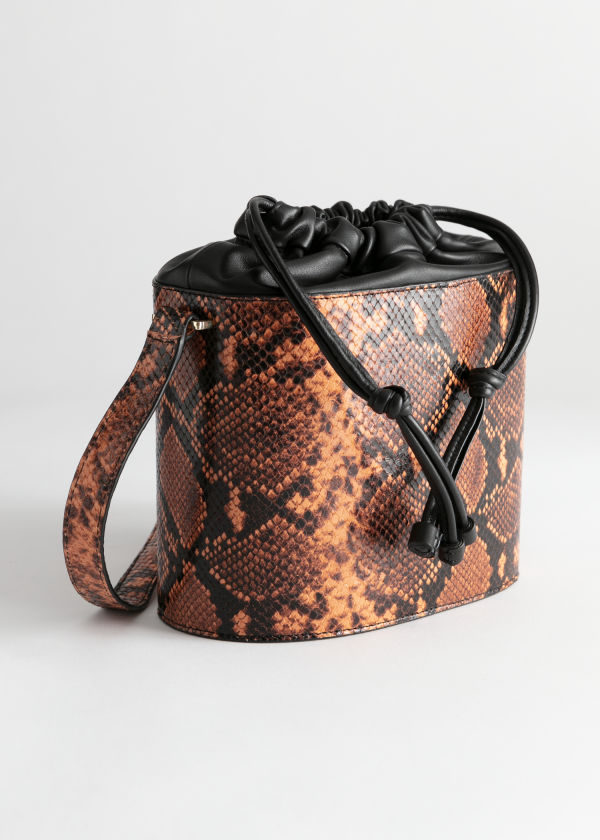 Snake Embossed Small Bucket Bag