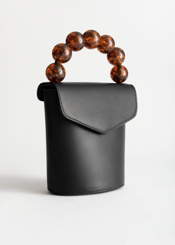 Beaded Handle Mini Leather Bag