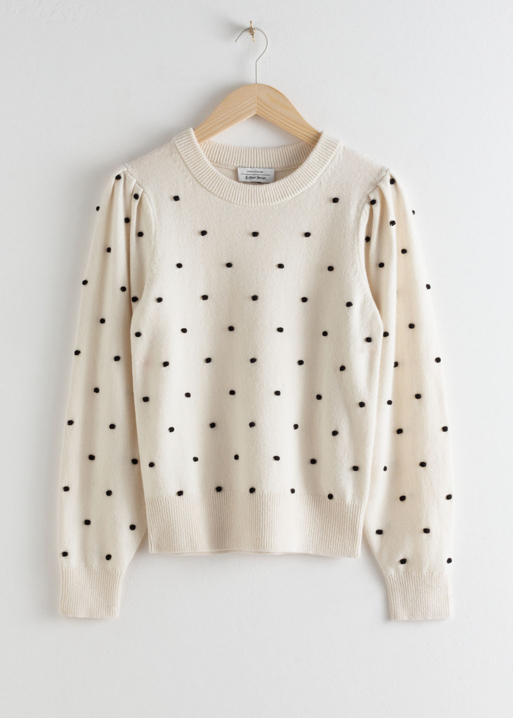 Front image of Stories polka bobble knit sweater in white
