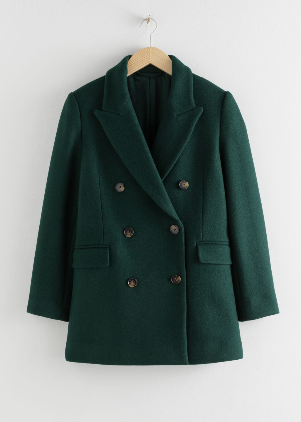 Front image of Stories double breasted wool blend jacket in green