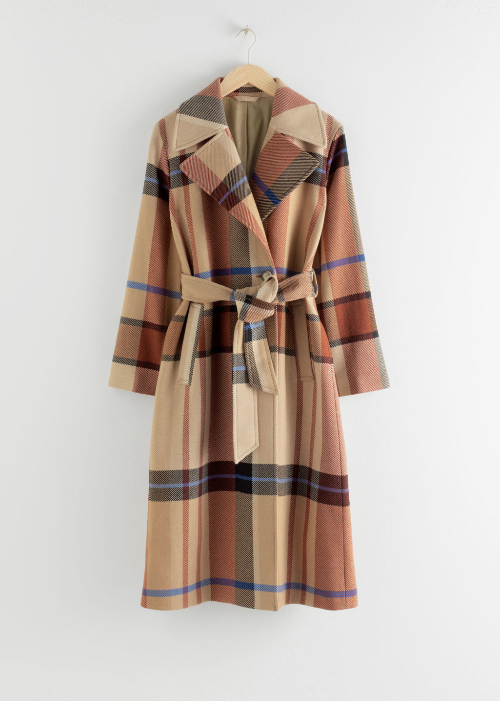 StillLife Front Image of Stories Plaid Wool Blend Belted Long Coat in Beige