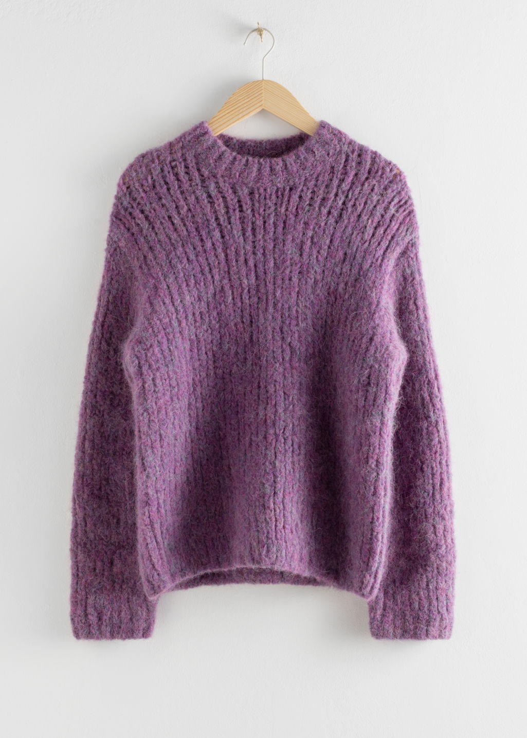 Front image of Stories chunky alpaca blend knitted sweater in purple