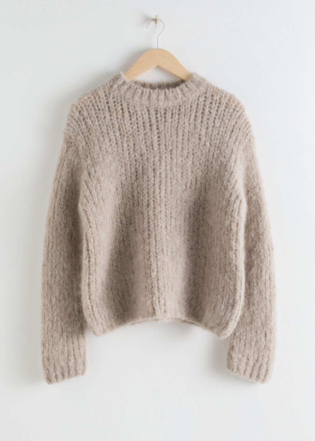 Front image of Stories chunky alpaca blend knitted sweater in beige