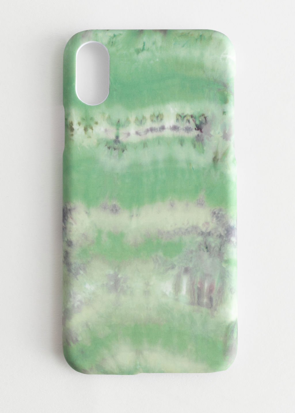 Front image of Stories tie dye iphone case in green