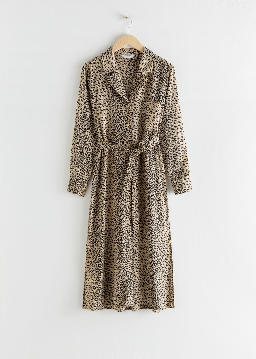 Front image of Stories leopard side slit belted midi dress in beige