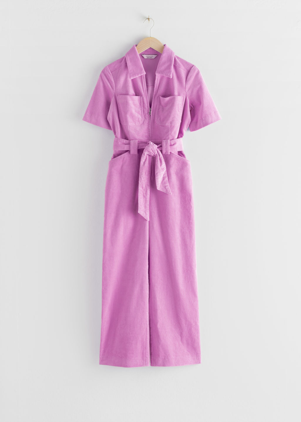 StillLife Front Image of Stories Corduroy Knot Belt Jumpsuit in Purple