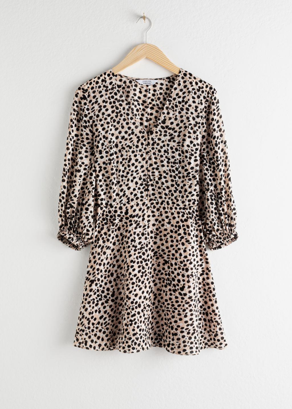 StillLife Front Image of Stories Leopard Lyocell Blend Mini Dress in Beige