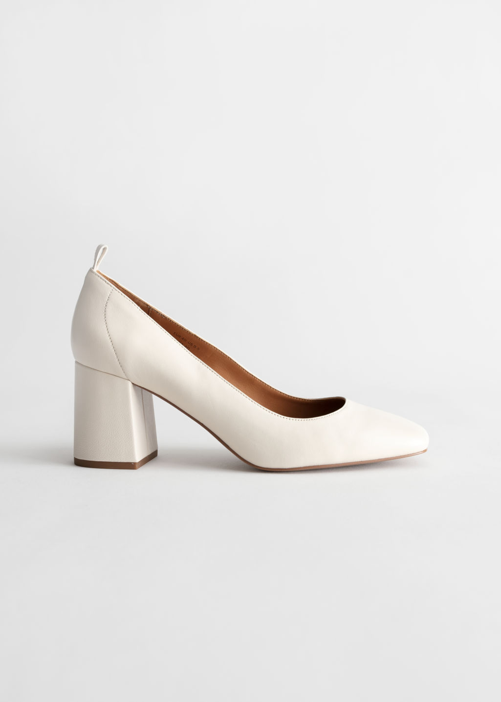 StillLife Front Image of Stories Square Toe Leather Ballerina Pumps in White