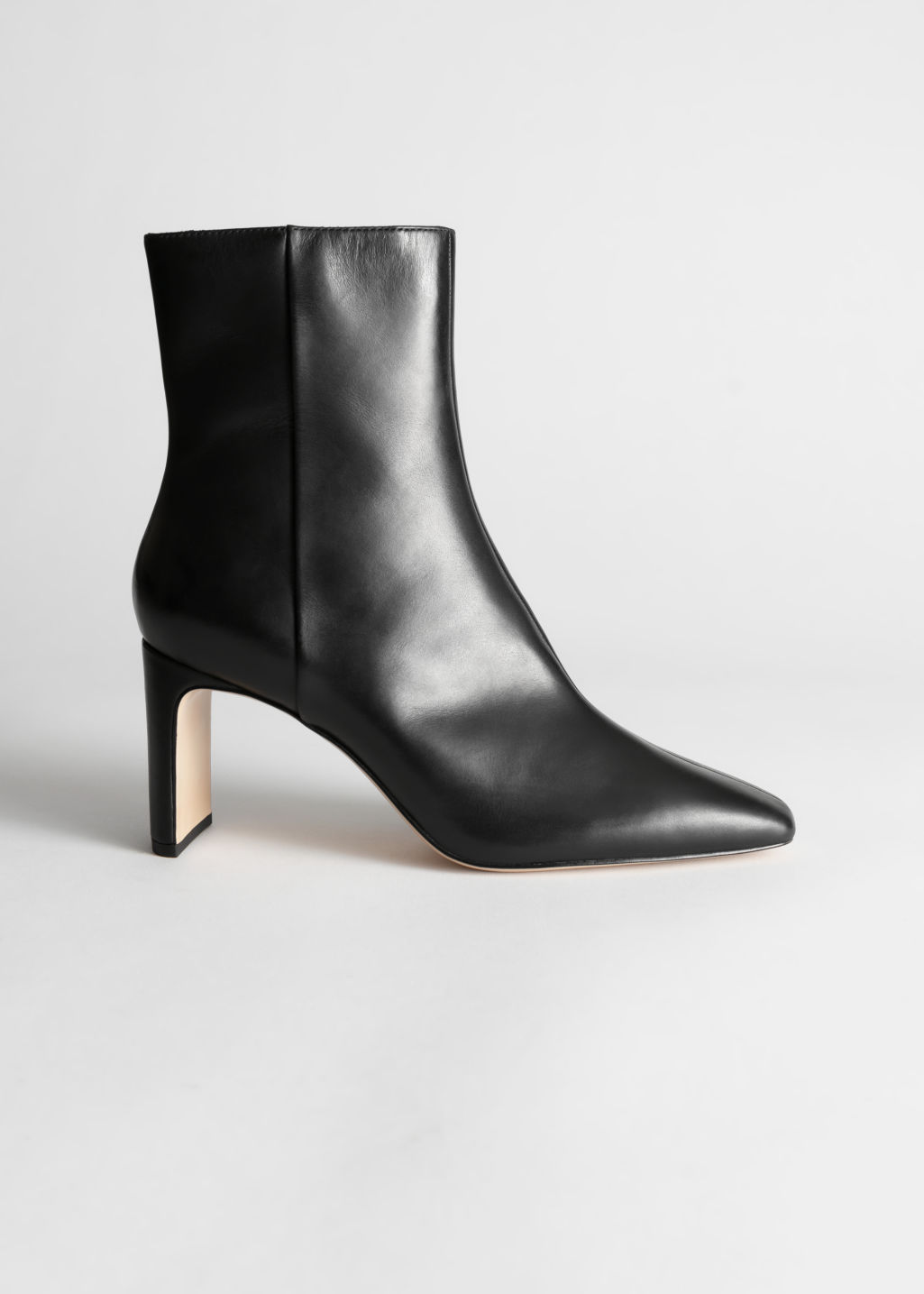 StillLife Front Image of Stories Square Toe Leather Ankle Boots in Black