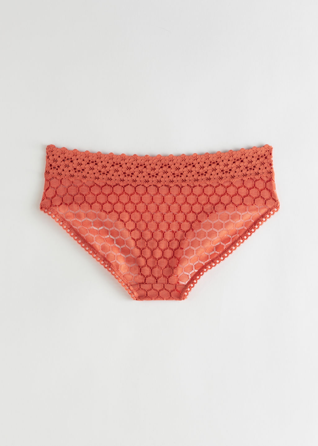 Back image of Stories honeycomb lace eyelet briefs in orange