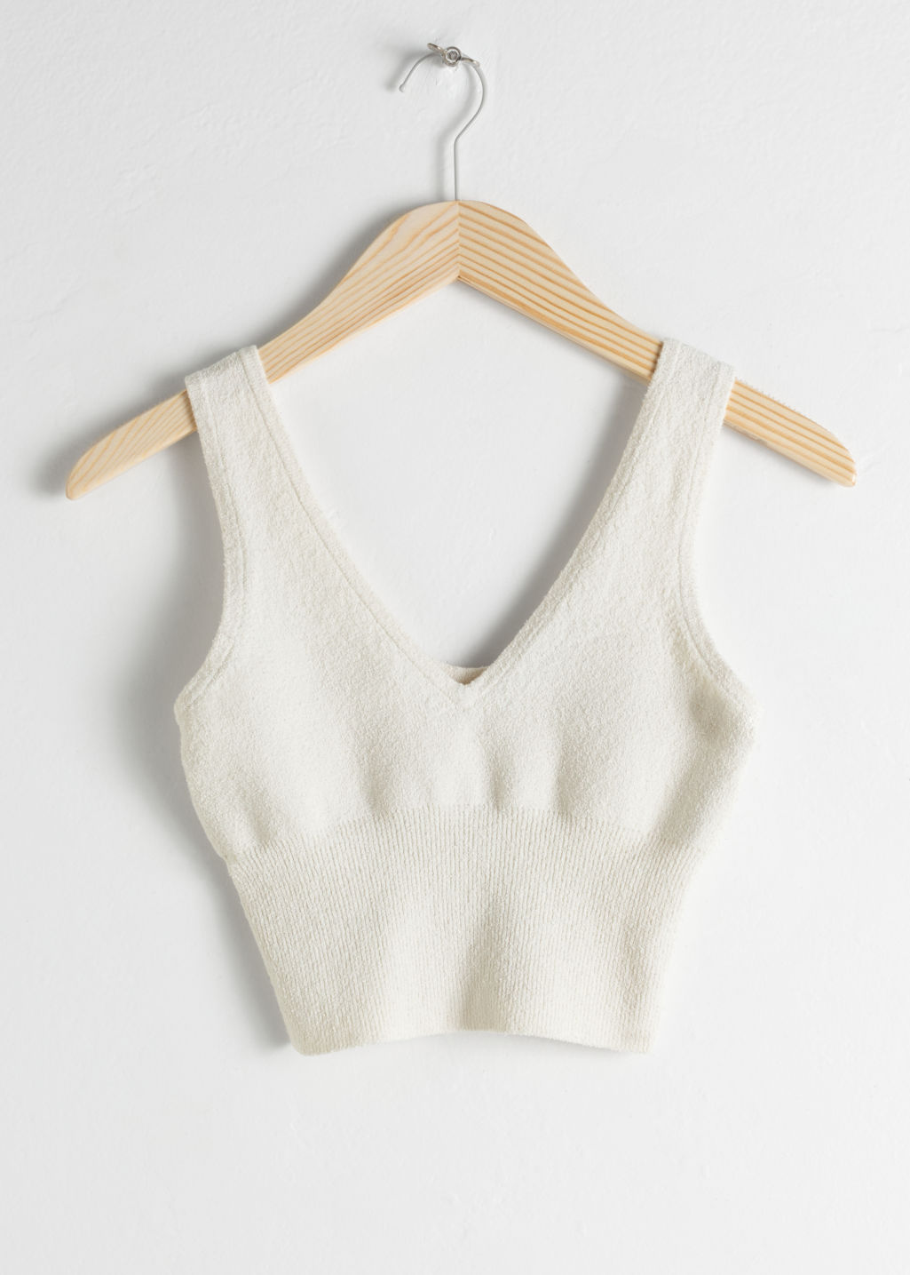 Front image of Stories organic cotton blend tank top in white
