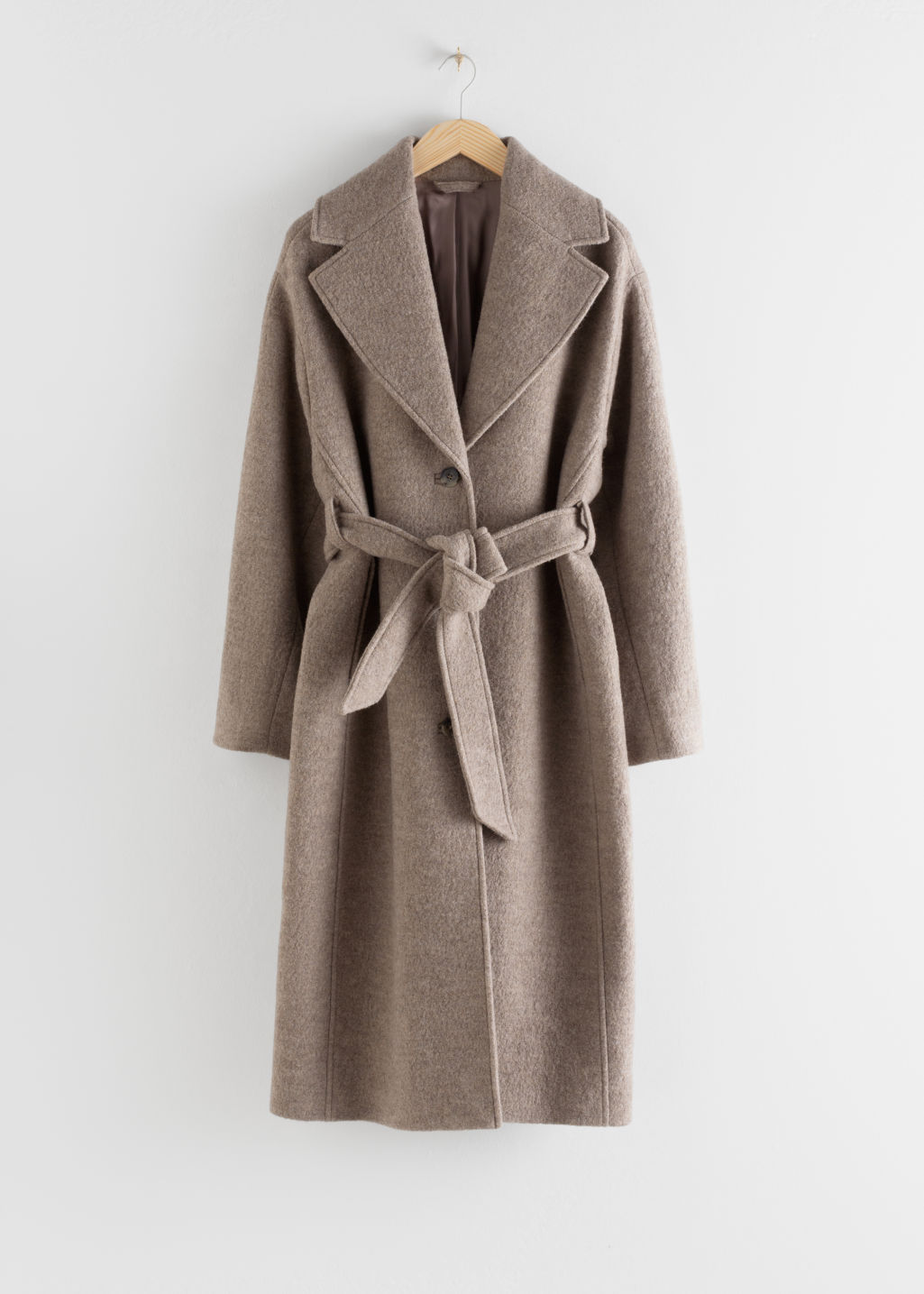 Front image of Stories oversized belted wool coat in brown