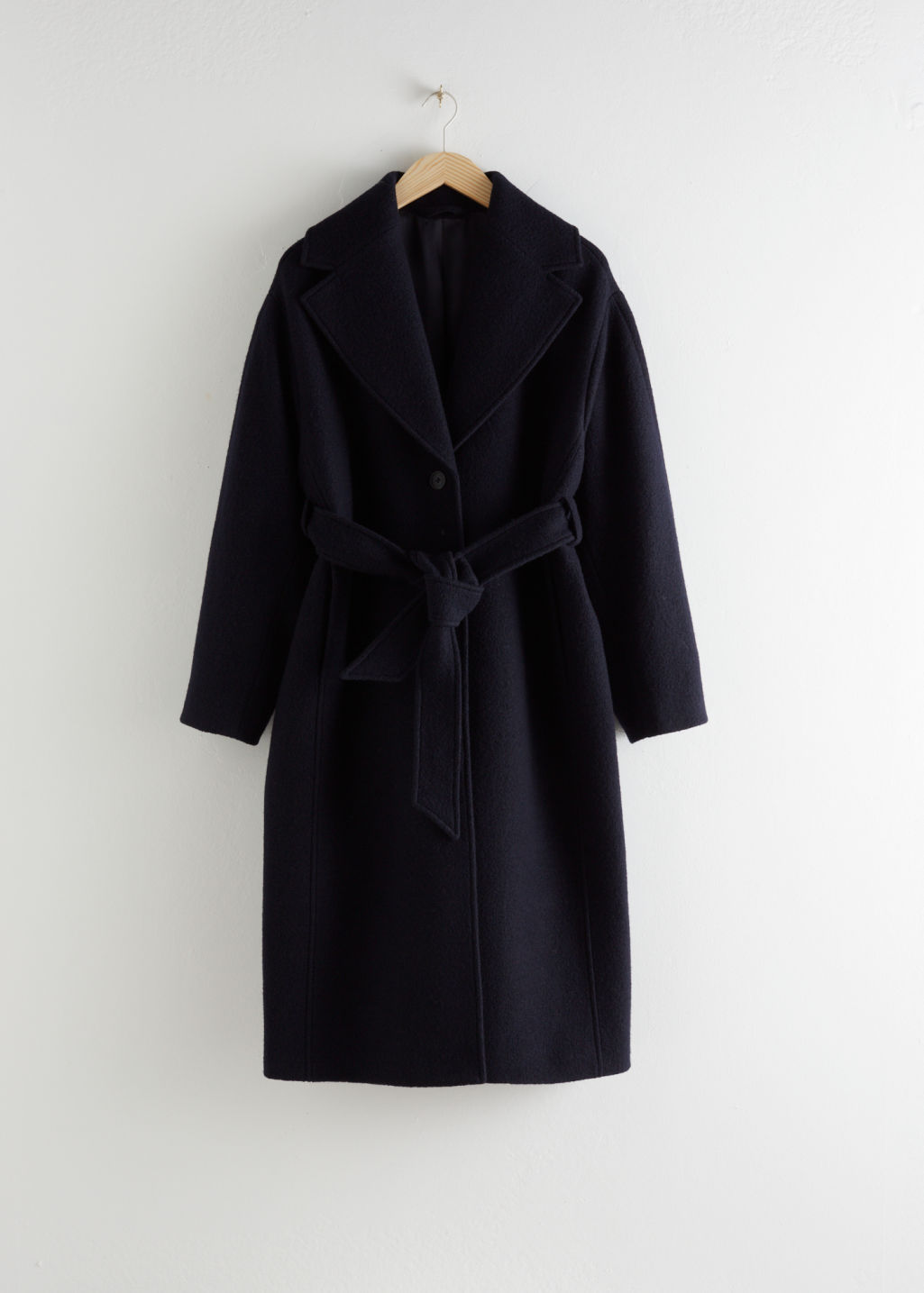 StillLife Front Image of Stories Oversized Belted Wool Coat in Blue