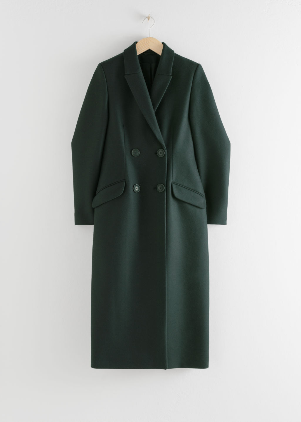 Front image of Stories double breasted tailored coat in green