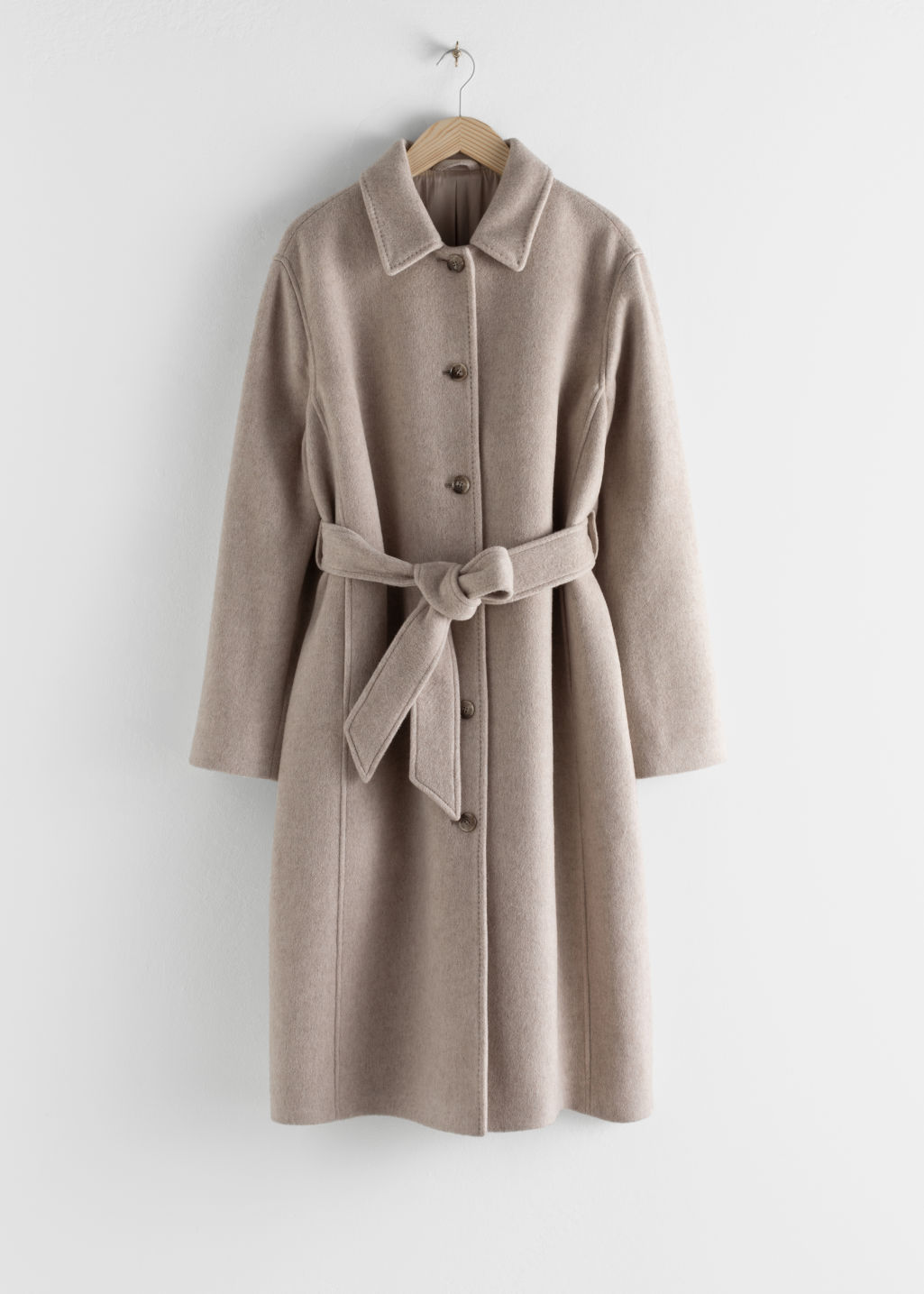 StillLife Front Image of Stories Wool Blend Oversized Long Coat in Beige