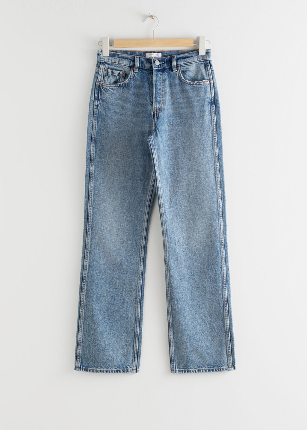 StillLife Front Image of Stories Straight Mid Rise Jeans in Blue