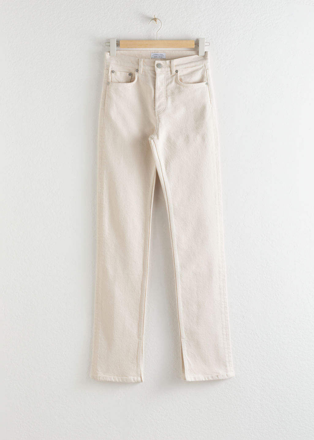Front image of Stories straight stretch long leg jeans in white