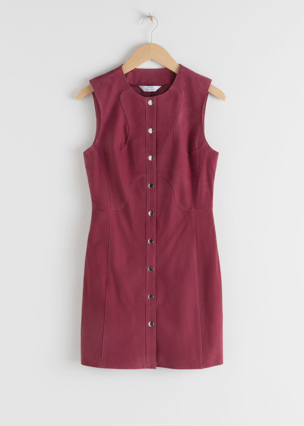 Front image of Stories suede mini sleeveless dress in pink