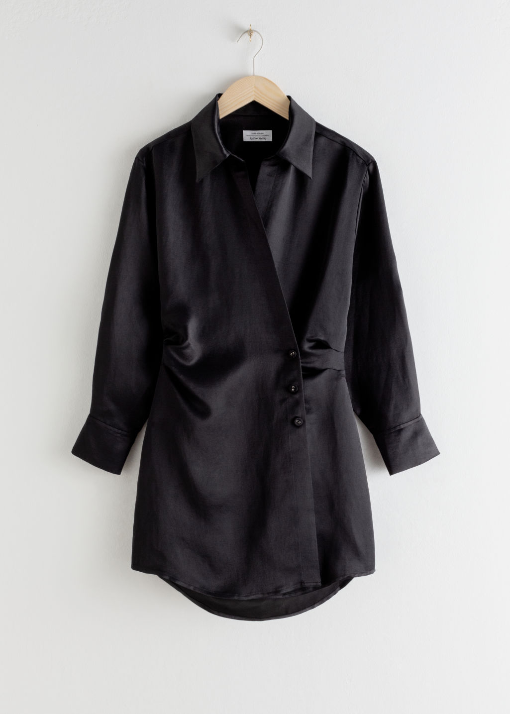 Front image of Stories asymmetric mini shirt dress in black