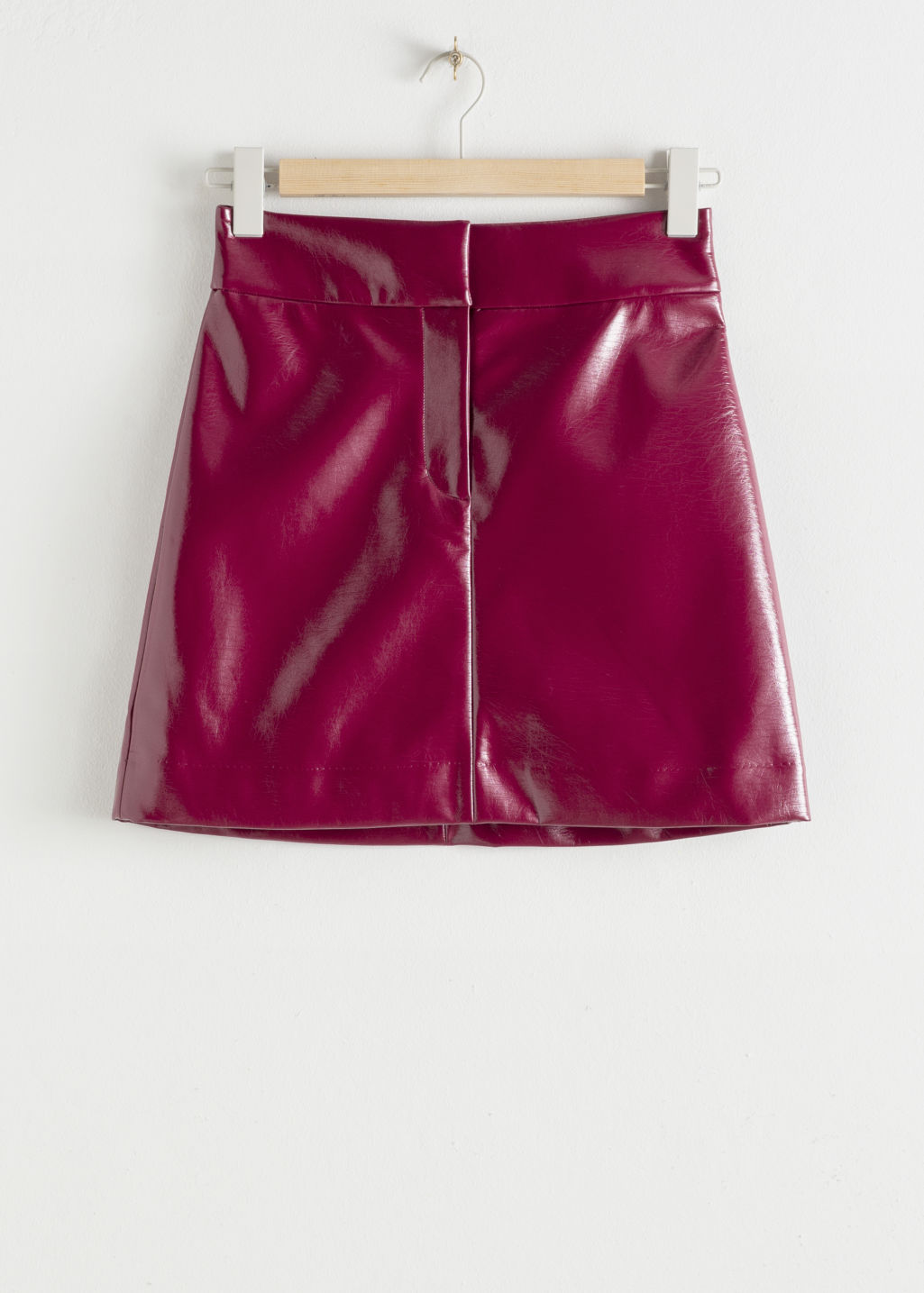 Front image of Stories patent fitted mini skirt in pink