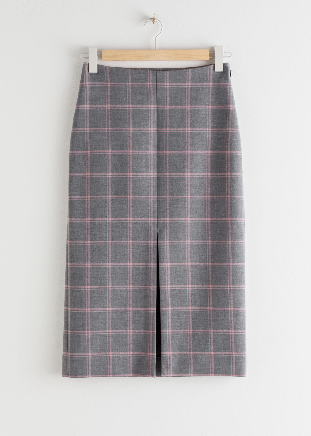 StillLife Front Image of Stories Front Slit Plaid Pencil Skirt in Grey