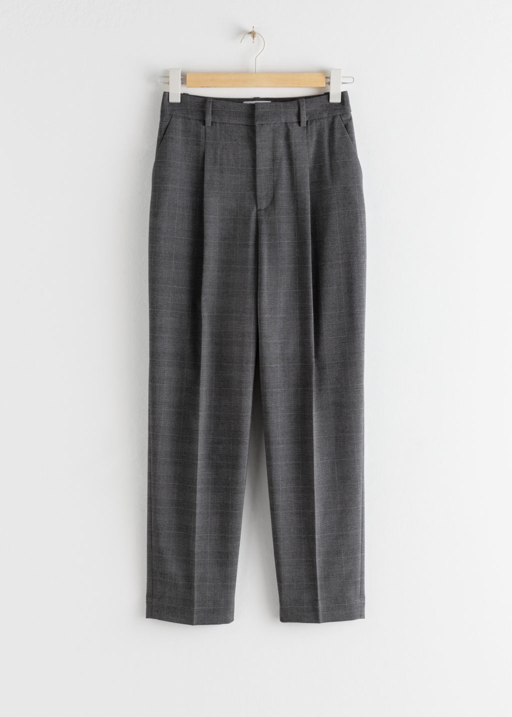 StillLife Front Image of Stories Tailored Plaid Check Trousers in Grey