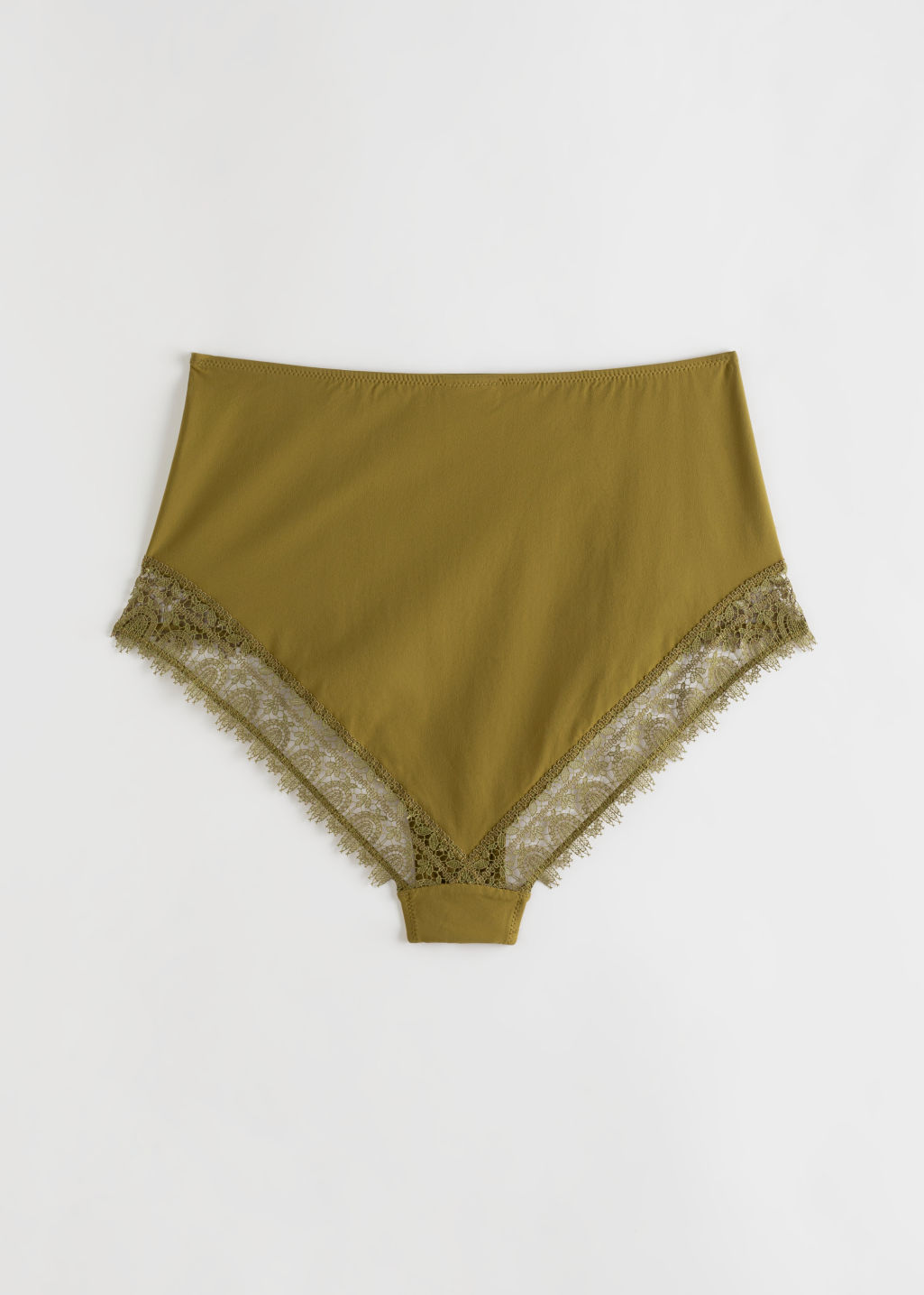 Back image of Stories high waist lace trim briefs in yellow