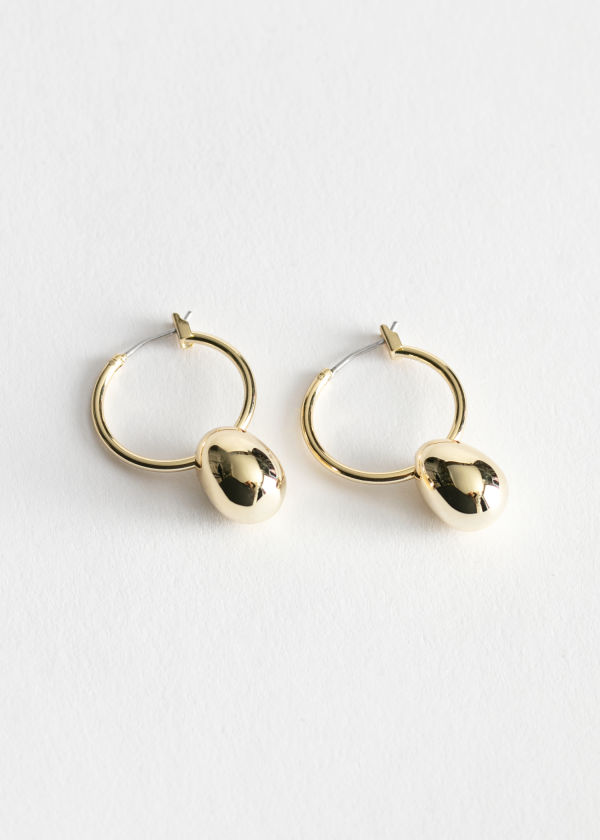 Oval Pendant Hoop Earrings