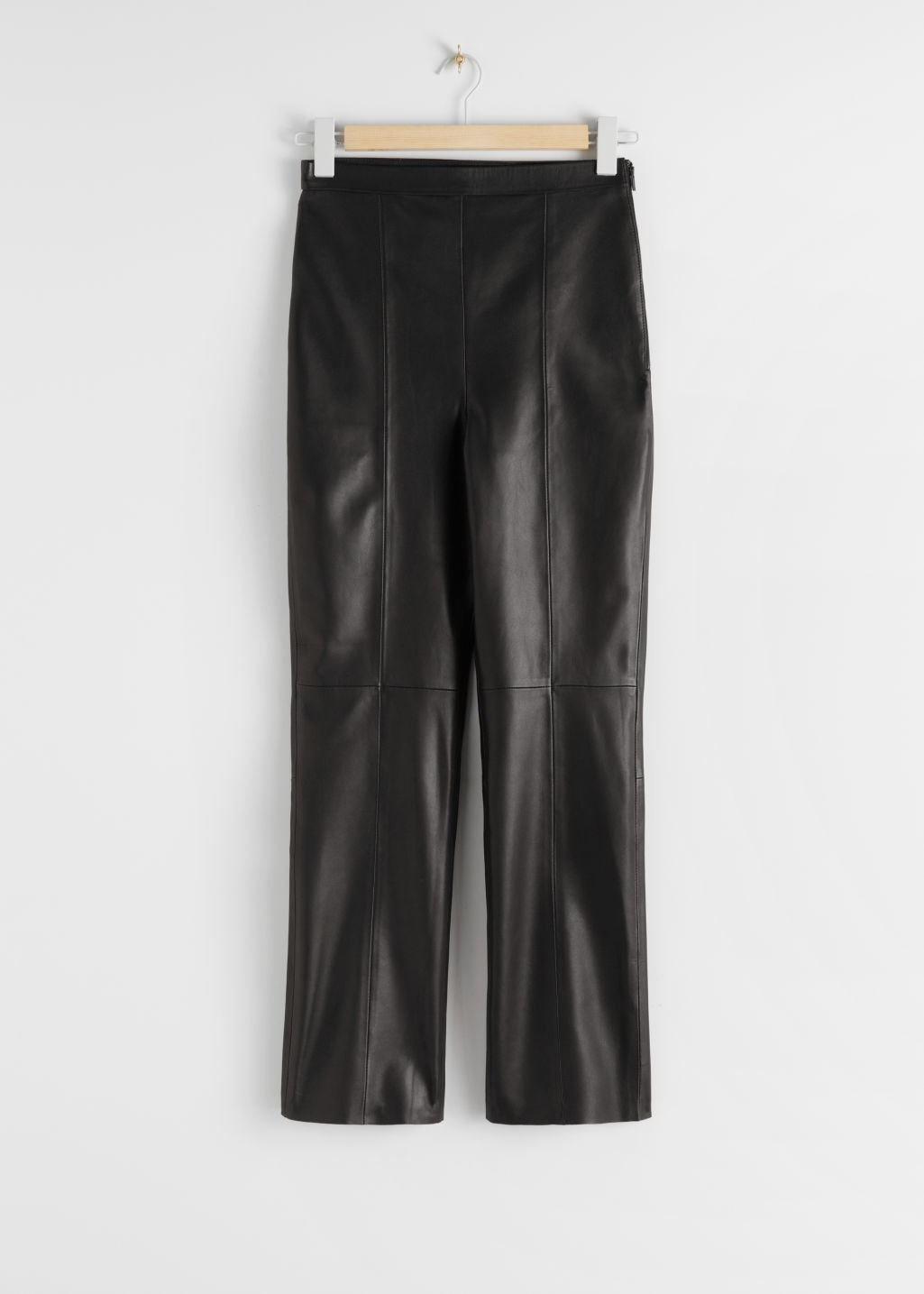 StillLife Front Image of Stories Soft Leather Trousers in Black