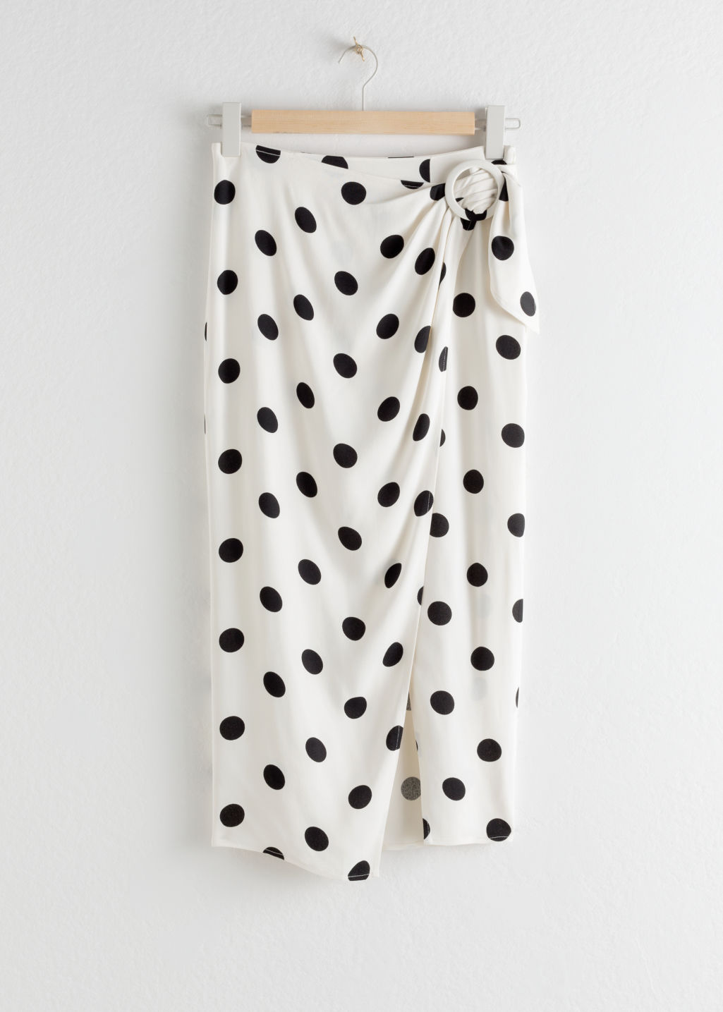 StillLife Front Image of Stories Polka Dot Pencil Midi Skirt in White