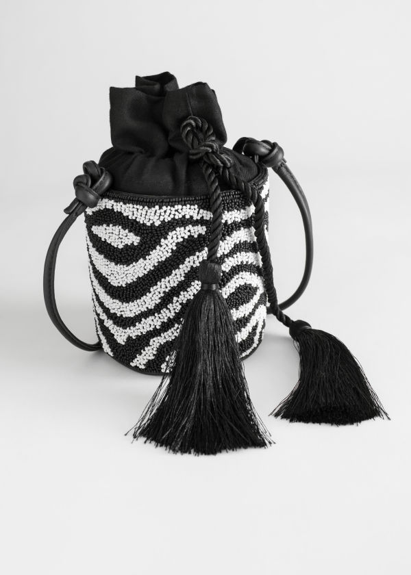Beaded Zebra Bucket Bag