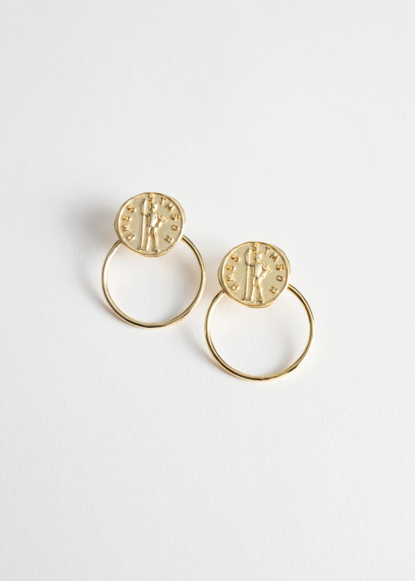Embossed Pendant Hoop Earrings