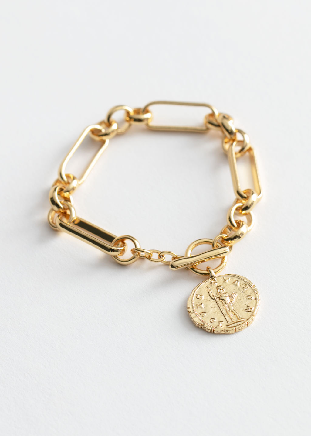 Front image of Stories hammered coin chain bracelet in gold