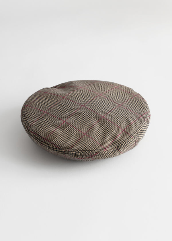 Plaid Check Puff Beret