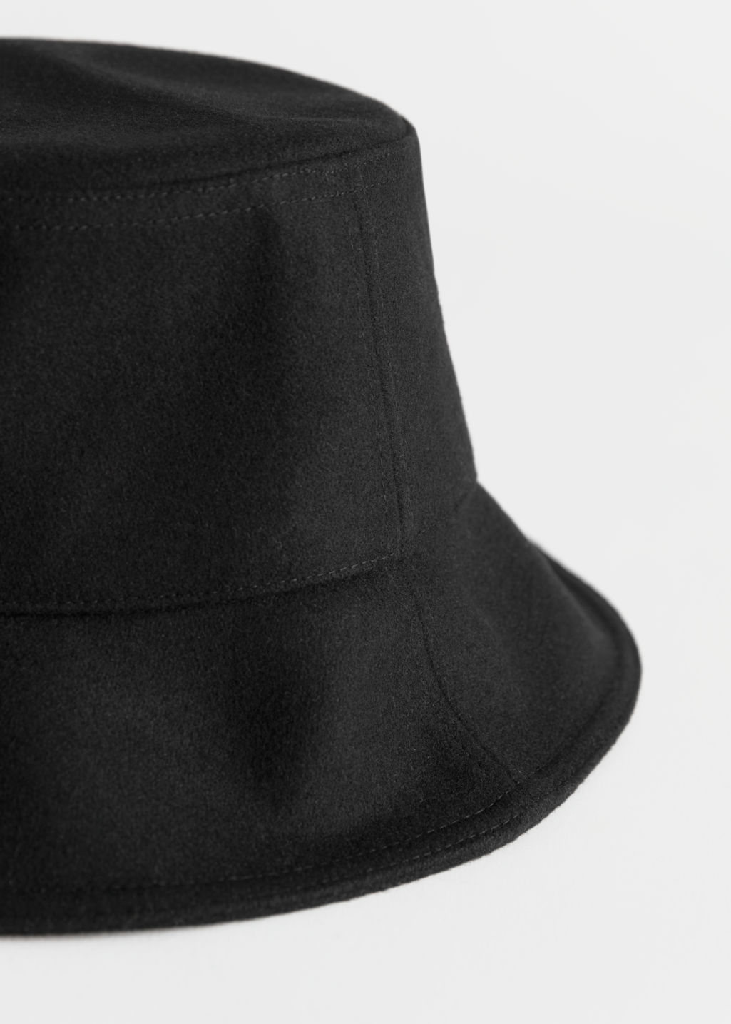 Back image of Stories felt wool blend bucket hat in black