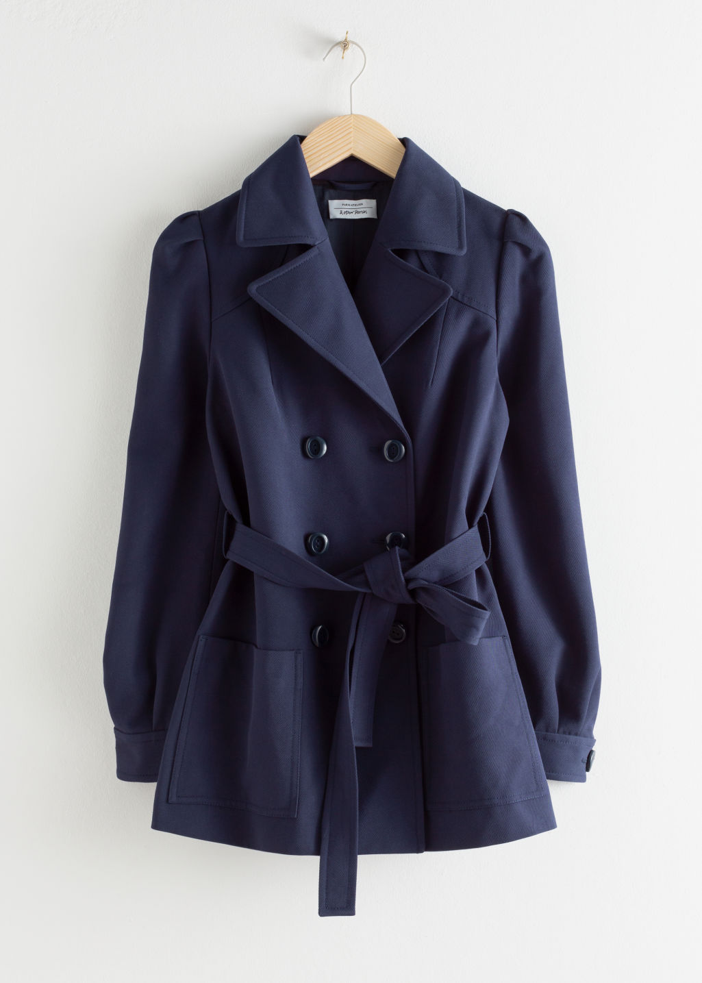 Front image of Stories belted twill trench jacket in blue