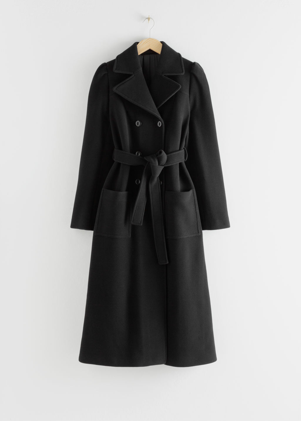 Front image of Stories belted wool blend long coat in black